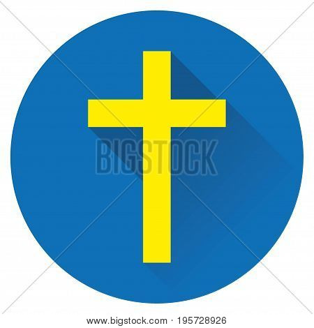 icon cross Jesus yellow on a blue background
