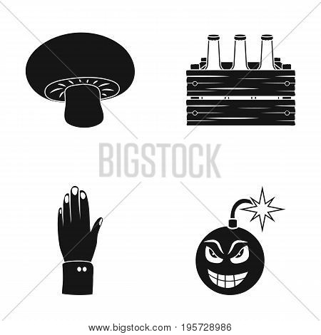 wick, ecology, industry and other  icon in black style.bomb, explosion, war, bombing icons in set collection.