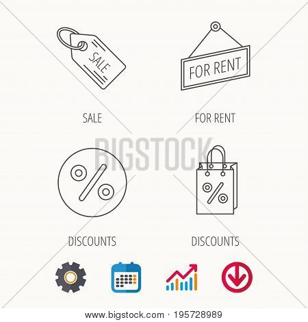 Discounts, gift bag and sale coupon icons. For rent linear sign. Calendar, Graph chart and Cogwheel signs. Download colored web icon. Vector