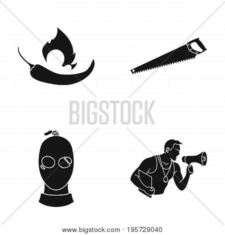 training, sport, nature and other  icon in black style.gramophone, flower, competition icons in set collection.