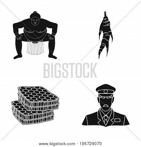 sports, nutrition, delicacies and other  icon in black style.military, cap, listening, icons in set collection