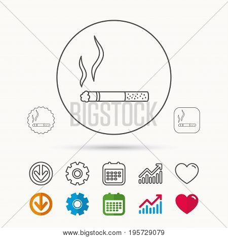 Smoking allowed icon. Yes smoke sign. Calendar, Graph chart and Cogwheel signs. Download and Heart love linear web icons. Vector