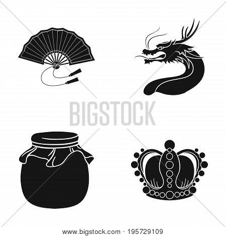 dessert, entertainment, tourism and other  icon in black style.boron, jewel, history, icons in set collection