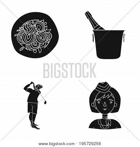 hair, restaurant, sport and other  icon in black style, girl, stewardess, conductors icons in set collection