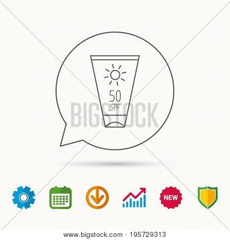 Sun cream container icon. Beach lotion sign. Calendar, Graph chart and Cogwheel signs. Download and Shield web icons. Vector