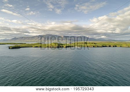 The island of Videy in Reykjavik with Mt. Esja in the background