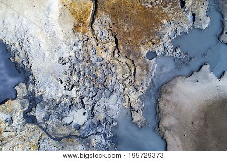 Aerial image of a geothermal area in Iceland with amazing colors
