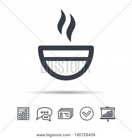 Tea cup icon. Hot coffee drink symbol. Chat speech bubble, chart and presentation signs. Contacts and tick web icons. Vector