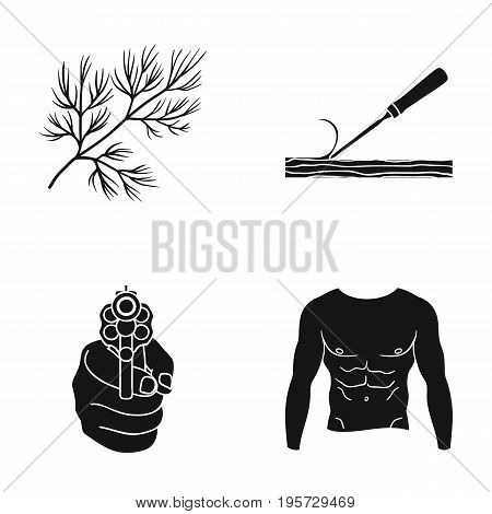 body, medicine, building and other  icon in black style.torso, figure, muscle, icons in set collection