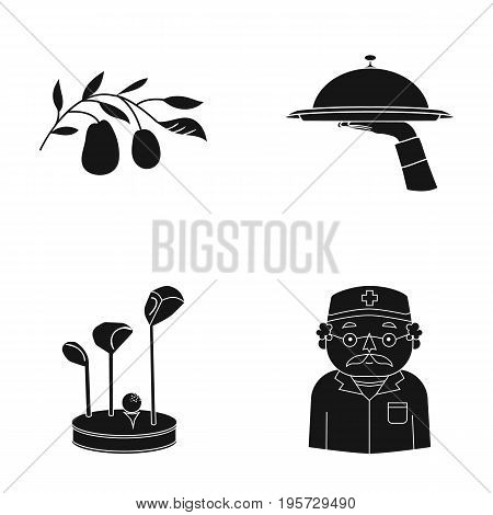 restaurant, nature, medicine and other  icon in black style.grandfather, doctor, treatment icons in set collection.