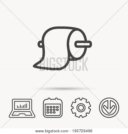 Toilet paper icon. WC hygiene sign. Notebook, Calendar and Cogwheel signs. Download arrow web icon. Vector