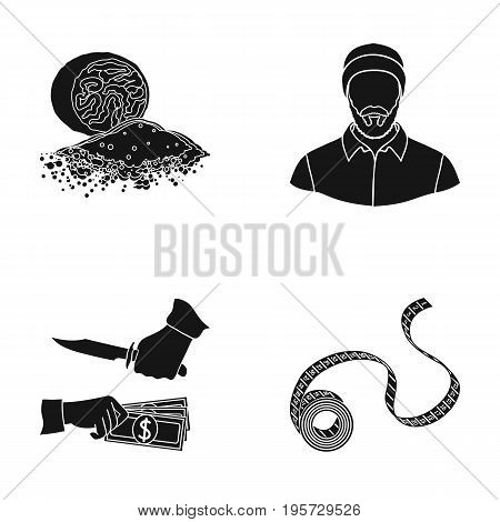 bank, business, north and other  icon in black style.crime, tape, flexible, icons in set collection