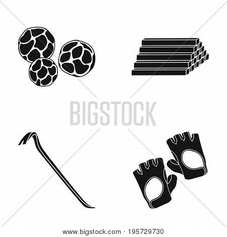 protection, industrial, textiles and other  icon in black style.gloves, accessories, sports icons in set collection.