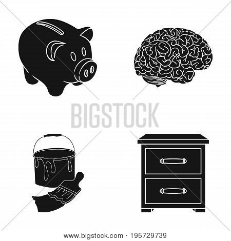 bank, medicine, building and other  icon in black style.bedside table, wood, icons in set collection.