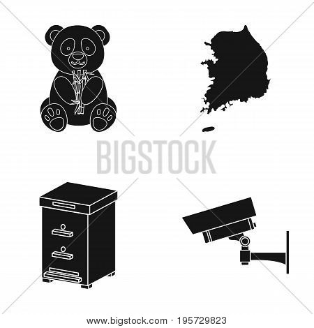 zoo, toy, beekeeping and other  icon in black style.surveillance, equipment, security icons in set collection.
