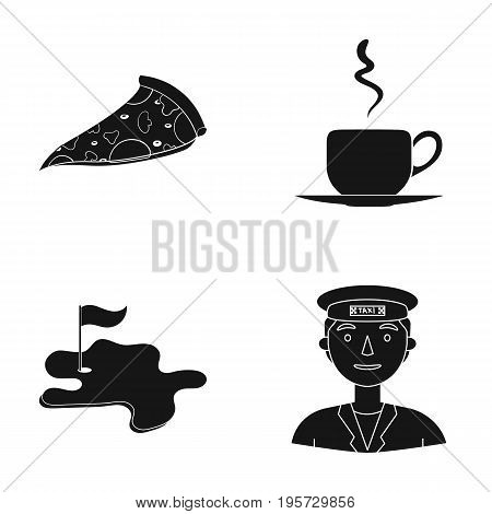 driver, trip, cafe and other  icon in black style.cap, taxi driver, icons in set collection.