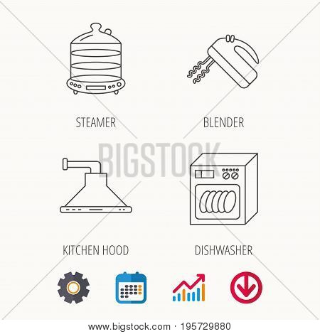 Dishwasher, kitchen hood and mixer icons. Steamer linear sign. Calendar, Graph chart and Cogwheel signs. Download colored web icon. Vector