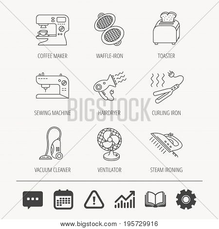 Coffee maker, sewing machine and toaster icons. Ventilator, vacuum cleaner linear signs. Hair dryer, steam ironing and waffle-iron icons. Education book, Graph chart and Chat signs. Vector