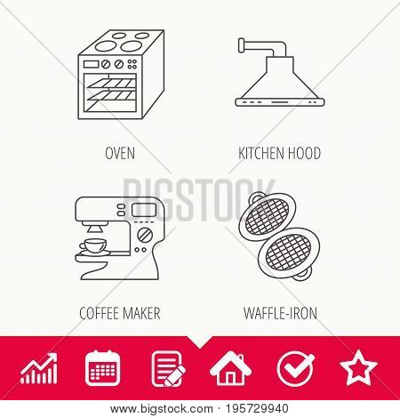 Waffle-iron, coffee maker and oven icons. Kitchen hood linear sign. Edit document, Calendar and Graph chart signs. Star, Check and House web icons. Vector