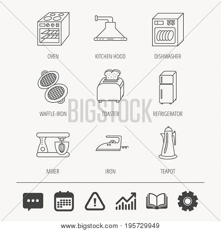 Dishwasher, refrigerator fridge and blender icons. Kitchen hood, mixer and toaster linear signs. Oven, teapot and waffle-iron icons. Education book, Graph chart and Chat signs. Vector