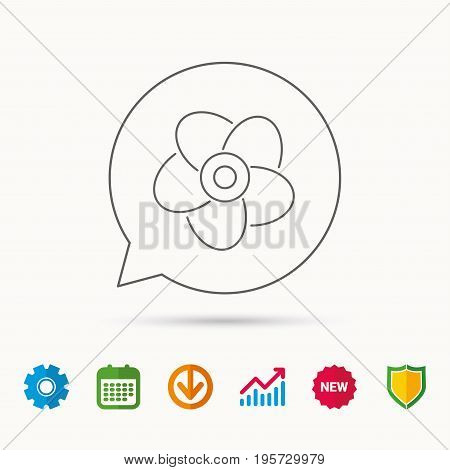 Ventilation icon. Fan or propeller sign. Calendar, Graph chart and Cogwheel signs. Download and Shield web icons. Vector