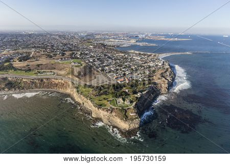 Aerial view of Point Fermin park in the San Pedro area of Los Angeles, California.