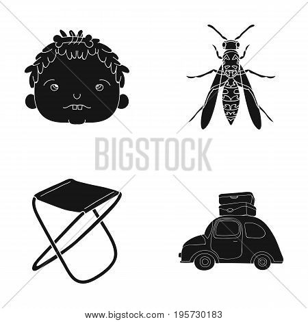 trip, vacation, history and other  icon in black style.transportation, suitcases, travel icons in set collection.