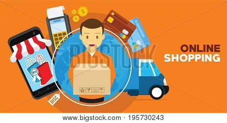 online shopping with delivery service illustration vector concept
