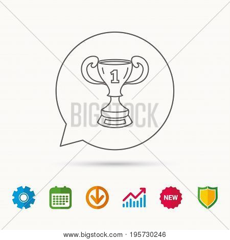 Winner cup icon. First place award sign. Victory achievement symbol. Calendar, Graph chart and Cogwheel signs. Download and Shield web icons. Vector