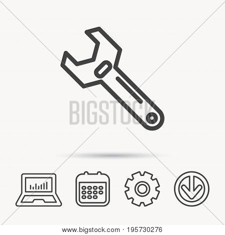 Wrench key icon. Adjustable repair tool sign. Notebook, Calendar and Cogwheel signs. Download arrow web icon. Vector