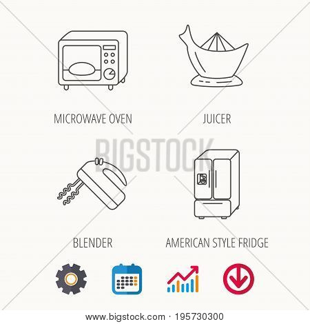 Microwave oven, American style fridge and blender icons. Juicer linear sign. Calendar, Graph chart and Cogwheel signs. Download colored web icon. Vector