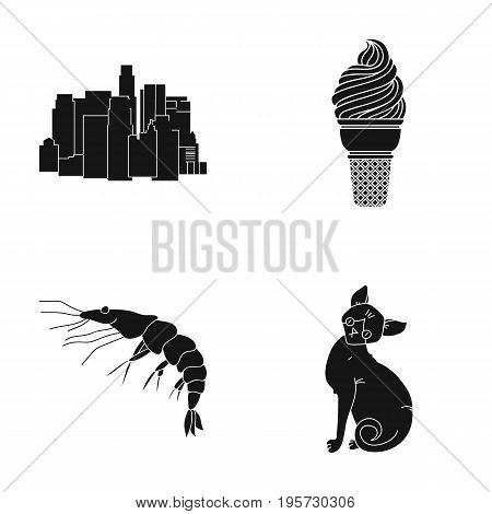 cat, home, progress and other  icon in black style., ocean, water, mammals icons in set collection