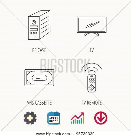 TV remote, VHS cassette and PC case icons. Widescreen TV linear sign. Calendar, Graph chart and Cogwheel signs. Download colored web icon. Vector