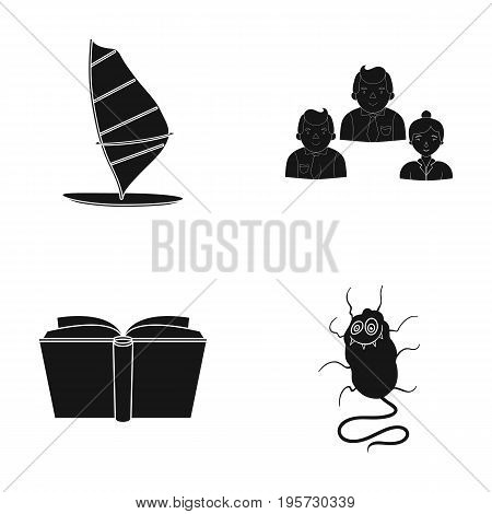 Infection, Prevention, Hygiene and other  icon in black style.University, Microbes, Mud, icons in set collection