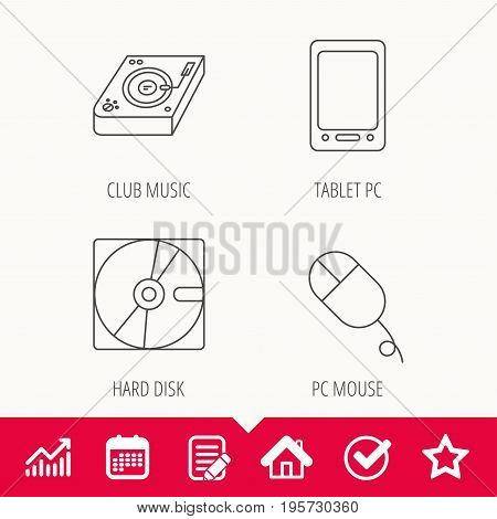 Tablet PC, Hard disk and pc mouse icons. Club music linear sign. Edit document, Calendar and Graph chart signs. Star, Check and House web icons. Vector
