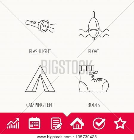 Flashlight, fishing float and hiking boots. Camping tent linear sign. Edit document, Calendar and Graph chart signs. Star, Check and House web icons. Vector