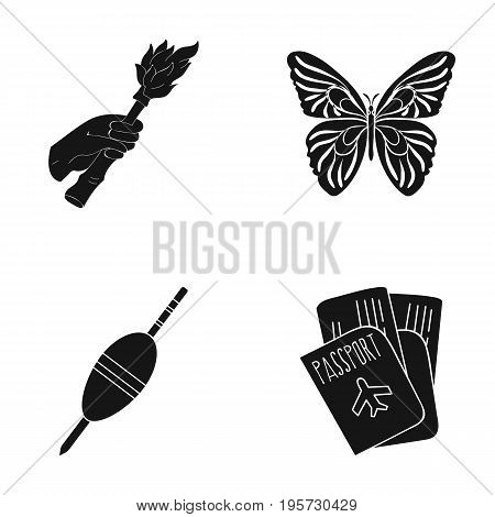 tourism, history, nature and other  icon in black style.airplane, trip, rest, icons in set collection