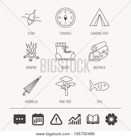 Pine tree, fishing float and hiking boots icons. Compass, umbrella and bonfire linear signs. Camping tent, fish and backpack icons. Education book, Graph chart and Chat signs. Vector