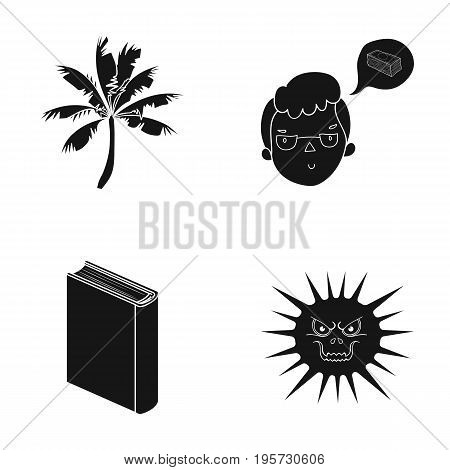 hospital, prevention, nature and other  icon in black style., horror story, illness, icons in set collection