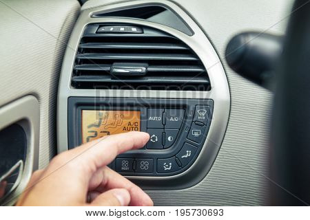 Driver using ac air-condition system and pushing button car screen interface