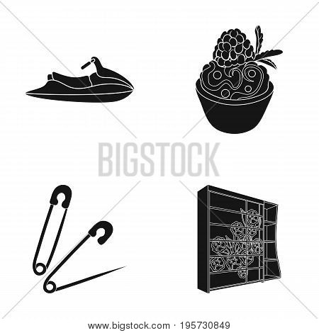 wood, glass, design and other  icon in black style., cupboard, decorations, shelf icons in set collection