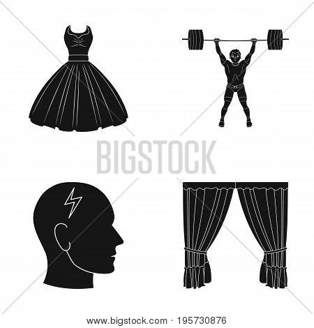 textiles, sport, medicine and other  icon in black style. curtains, cornice, design, icons in set collection