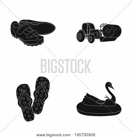 transport, recreation, sport and other  icon in black style. boat, attraction, entertainment, icons in set collection