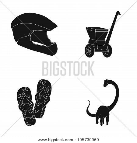 nature, sport, history and other  icon in black style.rubber, ancientdinosaurs, animal, icons in set collection