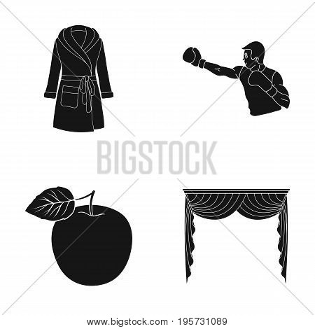 fabric, design, textiles and other  icon in black style.curtains, drapes, cornices, icons in set collection
