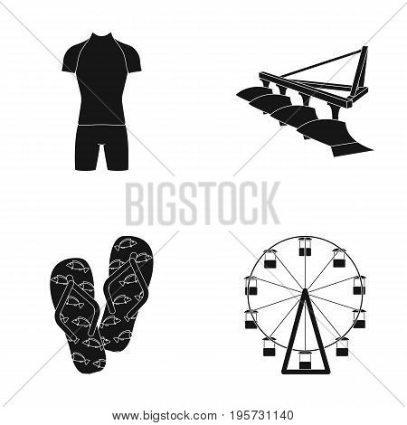 circle, booth, textiles and other  icon in black style.carousel, attraction, entertainment icons in set collection.