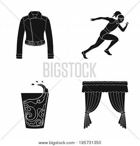 fabric, sports, textilesand other  icon in black style.coffee, curtains, cornices, icons in set collection