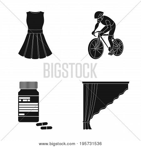 design, sport, textiles and other  icon in black style.pharmacy, curtains, cornices, icons in set collection