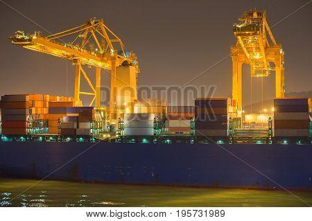 Industrial Port At Night