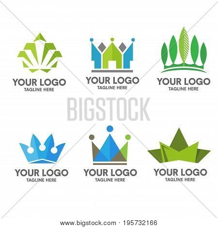 crown logo set concept,minimalist ad modular crown  property and real estate logo concept